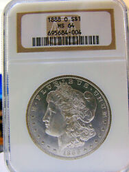 1888-o Ngc Ms-64 Certified Morgan Silver Dollar A Frosty And Lustrous Gem 64