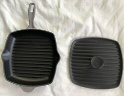 Le Creuset Gray/silver Cast Iron Grill Pan Skillet 26 + Panini Press Msrp 325