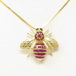 Nyjewel 14k Gold 2ctw Natural Ruby Sapphire Bee Brooch Pendant Necklace 17.75
