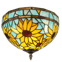 Sunflower Antique Light Stained Glass Ceiling Light With Bowl Shade