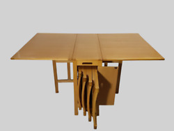 Vintage Romanian Drop Leaf Dining Table Stow Away Chairs Set Mid Century Modern
