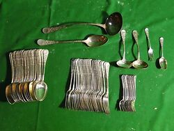 Flatware Silver Plated Antique Fancy Intricate Cast Pattern 1890 English, Marked