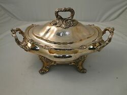 Soup Tureen Georgian 1840 Silver Plated Cast Handles And Border Crested Old Sheff
