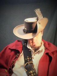 Porthos Leather Hat Brown Pirate Feather Costume Cosplay Reenactment Medieval