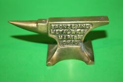 Vintage Miniature Anvil Advertising Paperweight Bronze And Metal Works Marion Oh