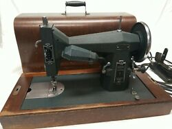 Antique Portable Kenmore De Luxe Rotary Sewing Machine With Curved Wood Box