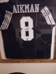 Troy Aikman Signed Jersey In A Homemade Picture Frame
