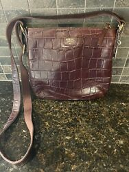 Fossil Purse Brown Crocodile Embossed Leather Shoulder Bag Crossbody 10x9x2 $65.00