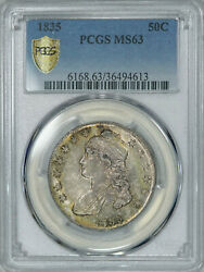 1835 Pcgs Ms63 Pq Bust Half Attractive Old Patina And Luster Much Tougher In Ms