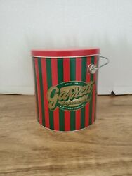 Garrett Popcorn Empty Red Green Striped Holiday Christmas Collectible Tins