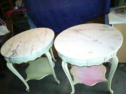 French Provincial Marble Top Table Set Of Two Vintage Collectible Furniture