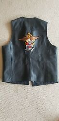 Harley-davidson Mens Leather Vest Large Authentic, H-d Patches Front And Back