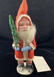 Antique Belsnickle Santa 8 1/2 Father Christmas Us Zone Germany Bisque W/ Tree