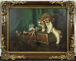 Antique 19th C Sidney Lawrence Brackett Kittens Cats Spill Dog Signed Oil Canvas