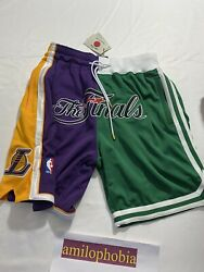 New Mens Large Mitchell And Ness Just Don Nba Finals 2008 Shorts Lakers Celtics