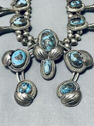 100 Bisbee Turquoise Vintage Navajo Sterling Silver Squash Blossom Necklace