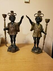 Pair Of Vintage Heavy Cast Blackmoor Candle Holders 16