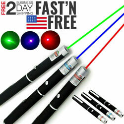 3 Packs 5 M W Strong Laser Pointer Pen Green Blue Red Light Visible Beam For Pet