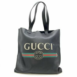 572768 Logo Print Leather Tote Bag Black Large Mens Women And039s Should _42354