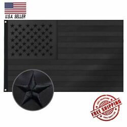 3x5FT Embroidered All Black American Flag US Black Flag Tactical Decor Blackout