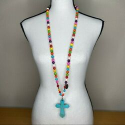 Beaded Ceramic Colorful Bead Cross Necklace
