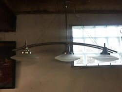 Space Age Mid Century 3 Saucer Chandelier Hanging Ceiling Lamp Light