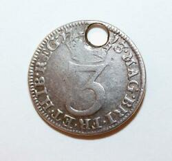 Rare Antique 1713 British 3 Pence Queen Anne Coin Sterling Silver Charm, Genuine