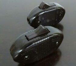 Lot 2 Vintage Leviton Brown Bakelite In-line Snap Rocker Toggle Lamp Cord Switch