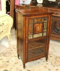 English Antique Inlaid One Door And 3 Shelves Small Cabinet