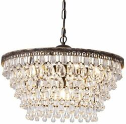 Anitque Bronze Rustic Crystal Chandelier Six Light Bulbs With Bead Design