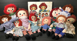 10 Raggedy Anne And Andy Dolls W'vintage Board