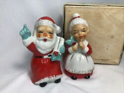 Mr. And Mrs. Santa Claus Salt Pepper Shakers Vintage Christmas With Box Japan