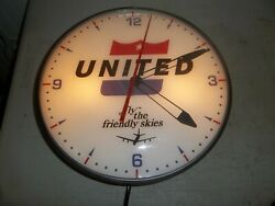 Vintage Lighted Pam Clock  United Airlines