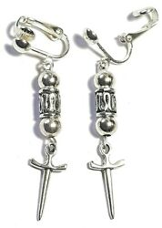 Silver Athame Clip-on Earrings Long Drop Dangle Boho Wiccan Pagan Witchcraft