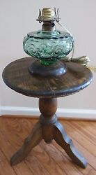 Antique Rustic Round Wood 3 Leg Pedestal Side Table Stand For Oil Lamp Font