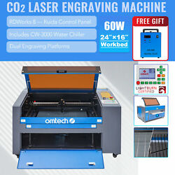 Mf1624-60 - 60w 16x24 Co2 Laser Engraver Cutter With Cw-3000 Water Chiller