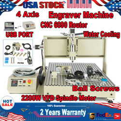 Usb 4 Axis Cnc 6090 Router Milling Drilling Engraving Vfd Machine 1.5kw/2.2kw
