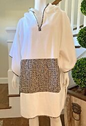 New Hermes Petit H Hoodie Cotton Cover-up Poncho Beach Tunic One Sz L Sold Out