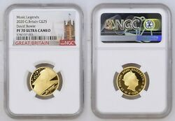Music Legends 2020 Great Britain Gold Proof Coin 25p David Bowie Pf70 Ultra Came