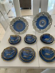 Weimar Katharina 28010 Porcelain Baby Blue And Gold Coffee Tea Set