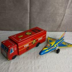 2-piece Set Of Tin Rides Made In Japan Showa Retro Airplane Fire Engine Car