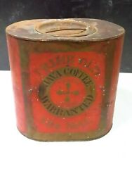 Rare Antique Prime Old Java Coffee Warranted 5 Pound Oval Tin Late 19thc Red