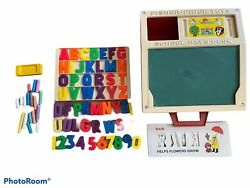 Fisher Price Vintage 1972 176 School Days Play Desk 10 Stencil Cards Magnetic