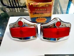 1950-1951-1952 Plymouth Tail Lights Assembly Housing Pair Genuine Mopar 30