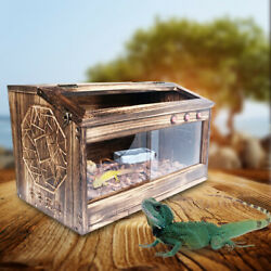 Reptile Chameleon Lizard Snake Cage Wooden Cages Paulownia No Rust 80*40*40CM