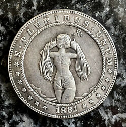 Hobo Nickel 1881 USA Morgan SEXY ASS ANIME GIRL IN PIGTAILS Engraving Art Coin $9.95