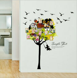 Removable Tree House Photo Frame Swing Wall Sticker Wall Decal Home Decor DIY SY