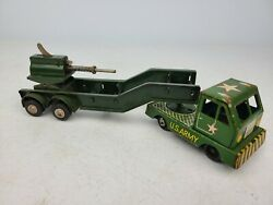 Vintage Tin Us Army Tank Carrier Tractor Trailer Green Truck Toy