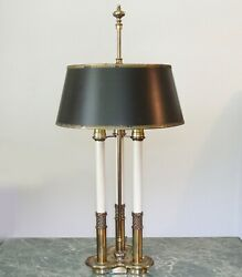 Vintage Stiffel Brass French Bouillotte Candlestick 3-way Table Lamp Black Shade