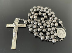 Vintage 1946 All Solid Sterling Silver Smooth Beads Rosary Necklace Medallion